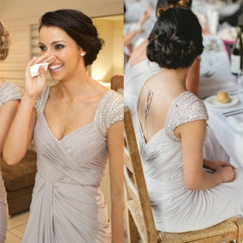 Elegant Floor-Length V-neck Jersey Beading Sequins cheap Bridesmaid Dress , BD0434
