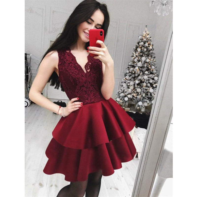 New Arrival Cute A-Line V-Neck Lace Top Red Cheap Homecoming Dress, HD0405