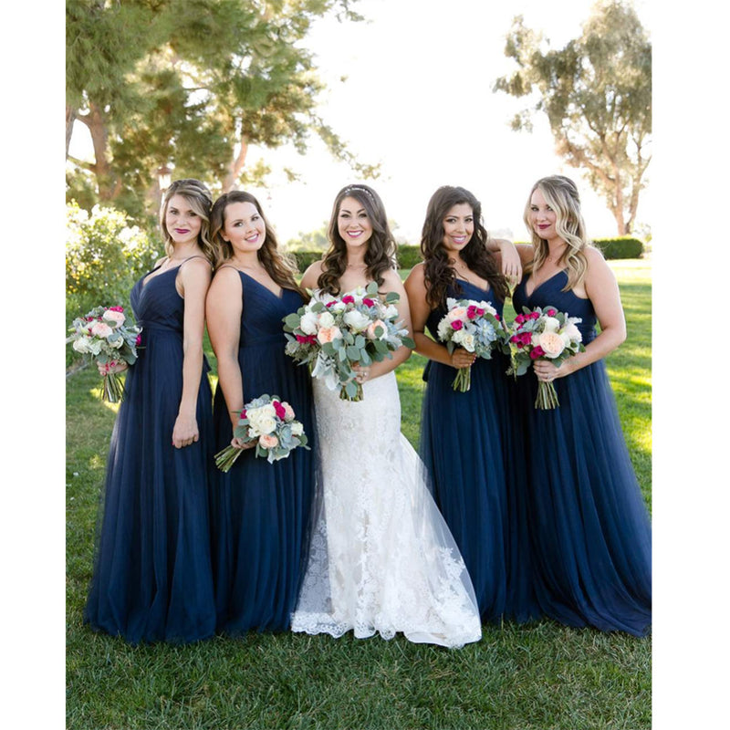 A-line Floor-length V-Neck Navy Blue Bridesmaid dresses With Pleats, BD0525