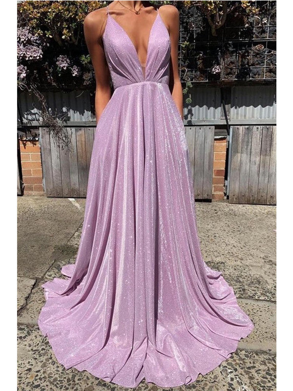 A-line Spaghetti Straps V-neck Lace-up Back Long Prom Dresses, PD0570