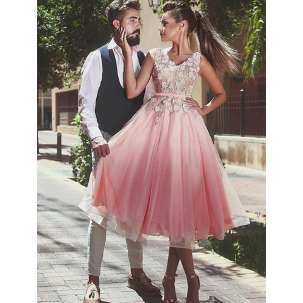 Popular A-line Appliques Top Sleeveless Tulle Skirt Homecoming Dresses, HD0488