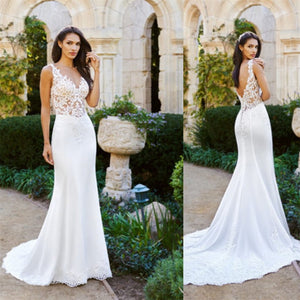 New Arrival White lace sexy V-neck sleeveless cheap elegant tail wedding dress, WD0331