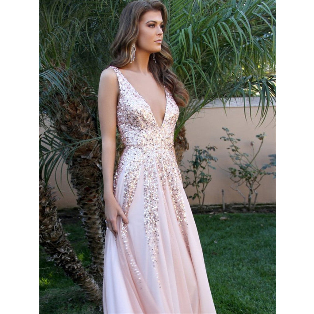 A-line V-neck Sequins Backless Sexy Long Pink Prom Dresses, PD0152