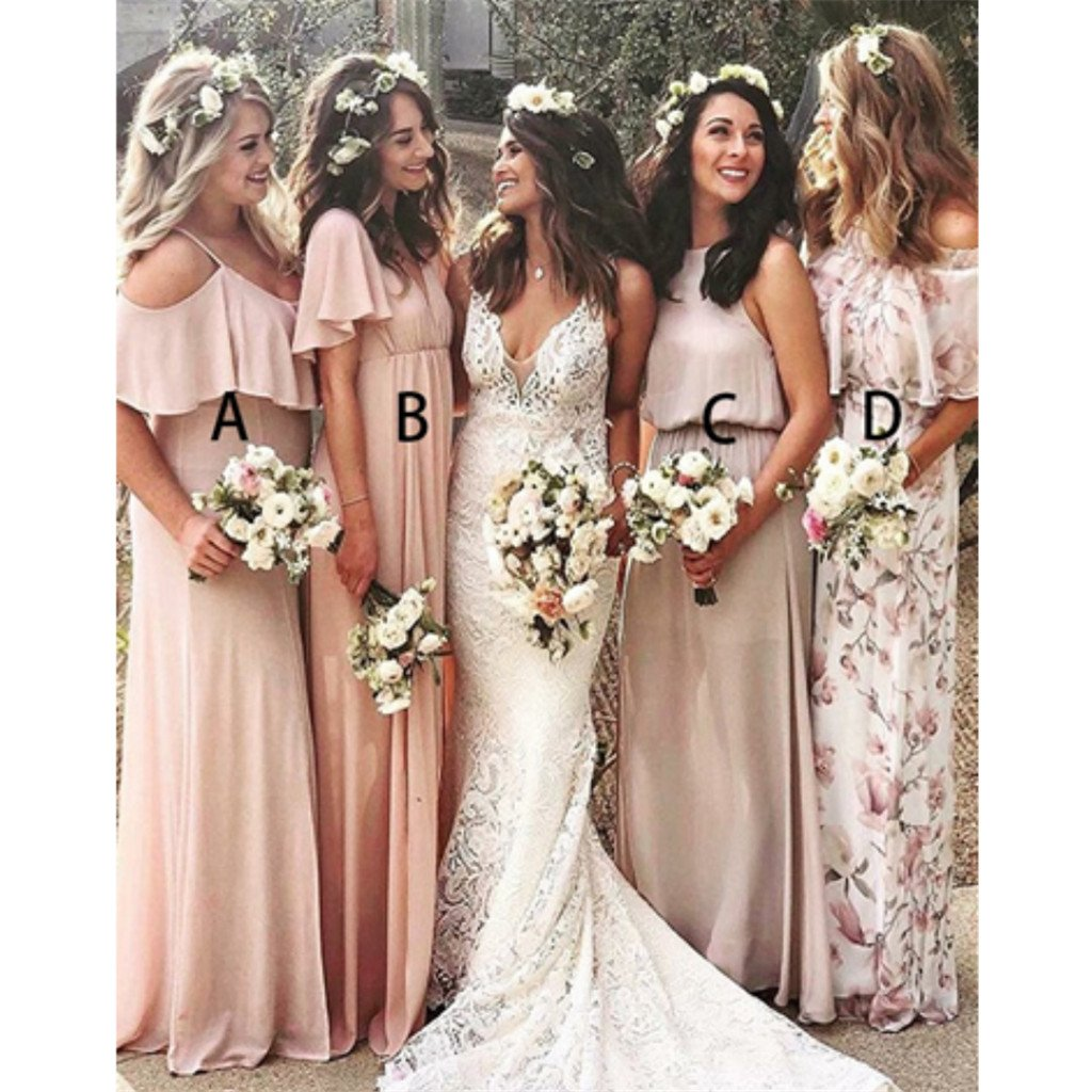 Charming A-Line Floor-length Pink Chiffon Cheap Bridesmaid Dress with Ruffles, BD0504