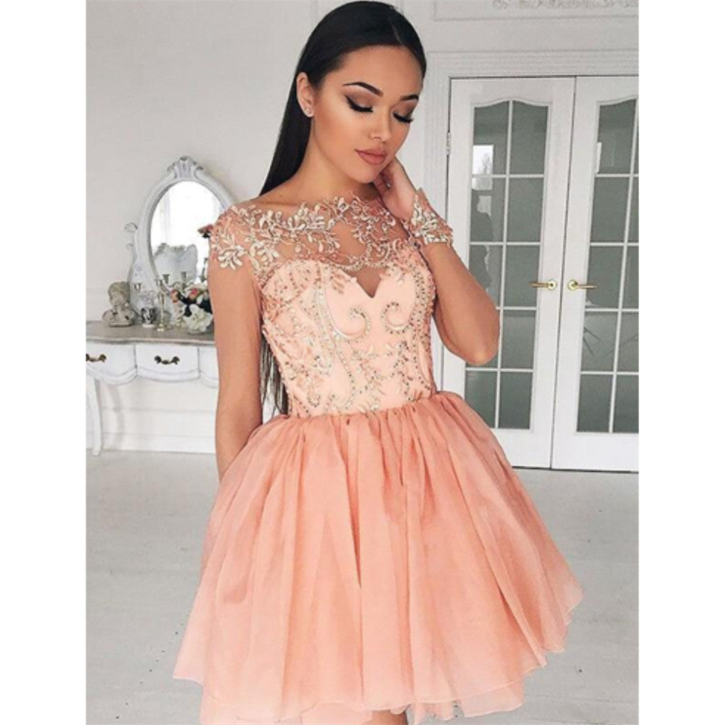 Newest Long Sleeves Lace Appliques Top Zipper Back Short Homecoming Dresses, HD0479