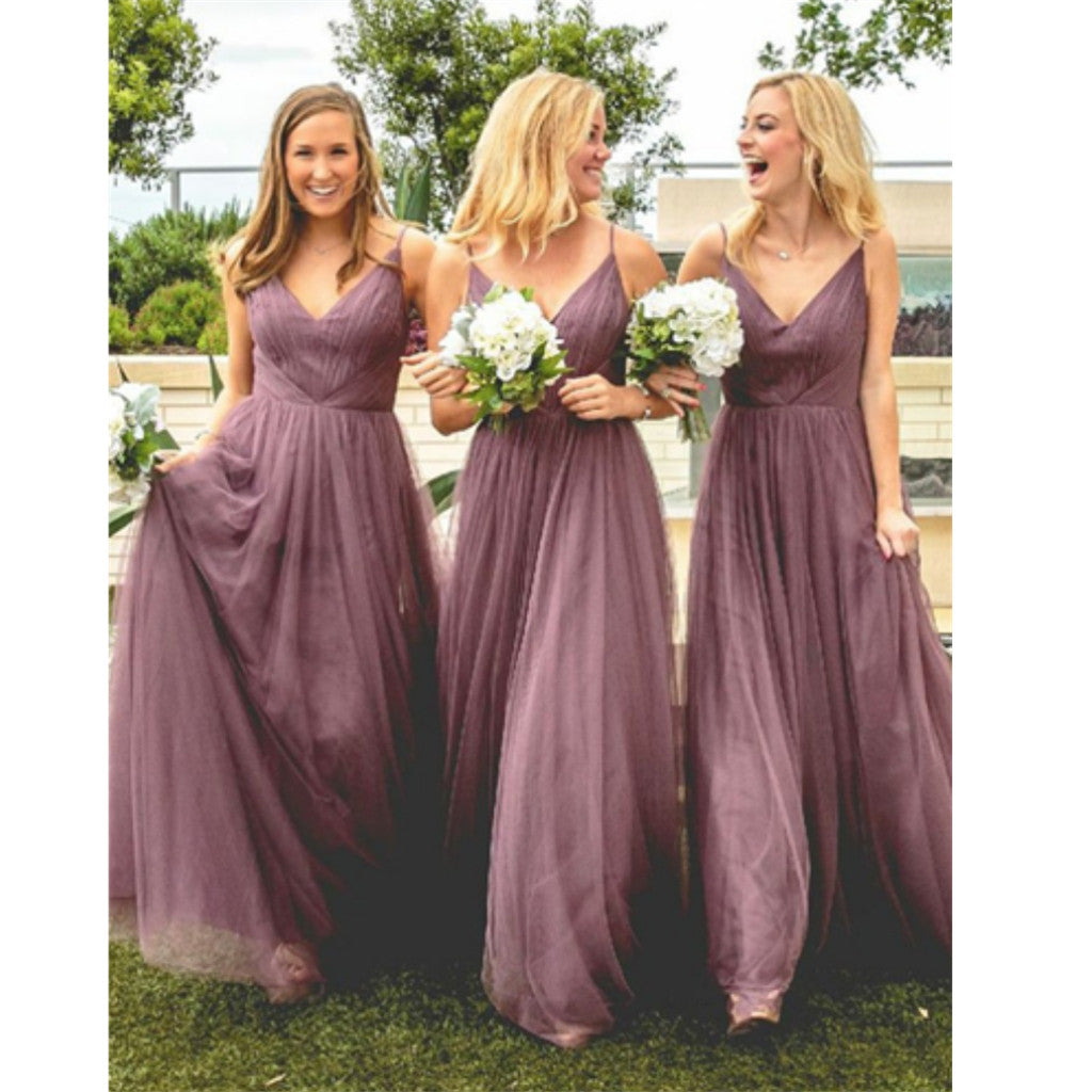A-Line Spaghetti Straps Floor-Length Deep V-neck simple cheap Bridesmaid Dress,  BD0107