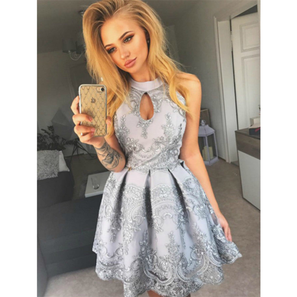 Charming A-Line Gray Lace Appliques Halter Sleeveless Short Homecoming Dress, HD0413