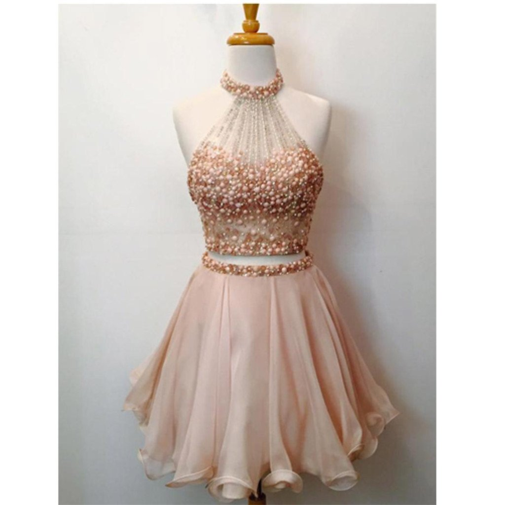 New Arrival Two-Pieces sleeveless Halter Blush Pink Short Prom Dresses, Homecoming Dresses, HD0330