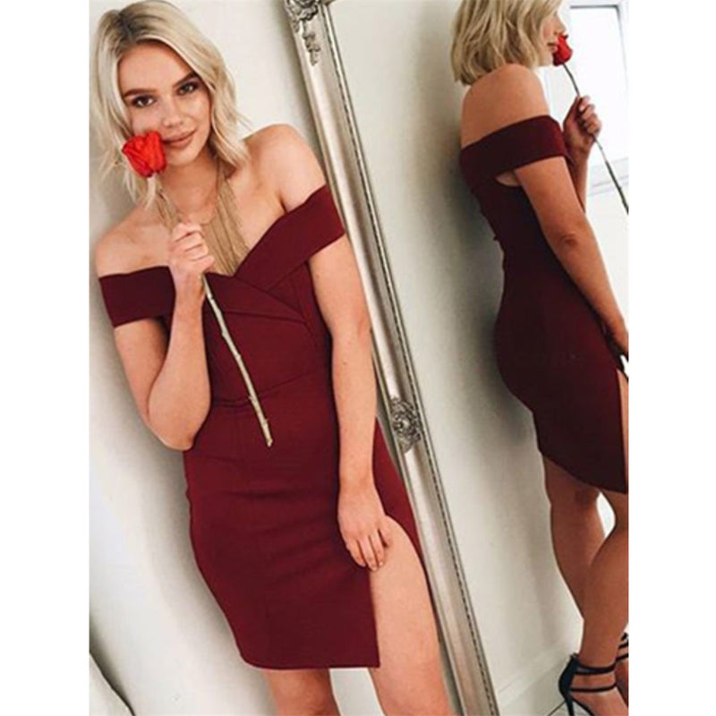 Simple Sexy Off-shoulder Burgundy Split Tight Cheap Short Homecoming Dress, HD0409