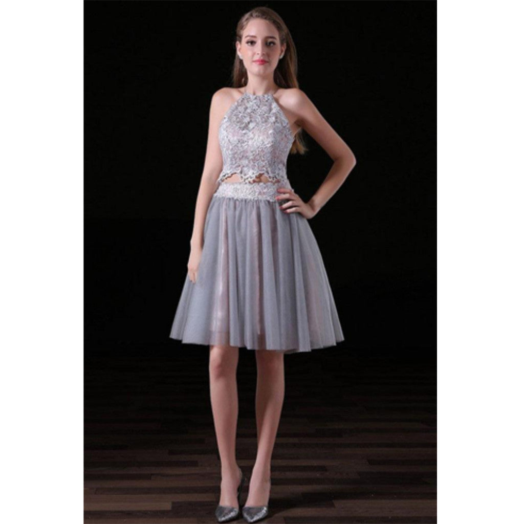 Two-pieces Sleeveless Lace Top Tulle Skirt Bavkless Short Homecoming dresses, HD0372
