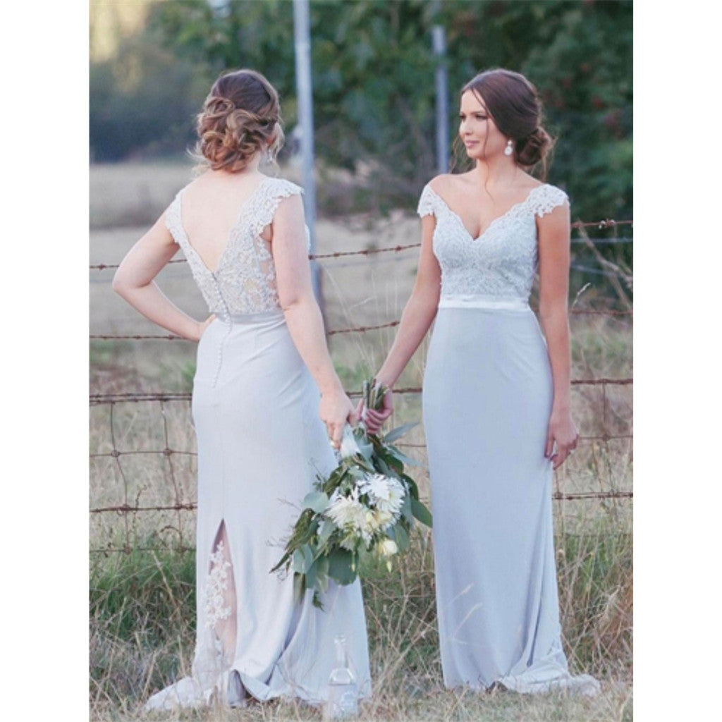 Cap Sleeves V-neck Lace Long Bridesmaid dresses With Train, BD0534