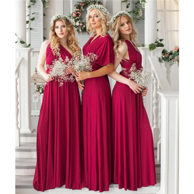A-line Floor-length V-neck Backless Colorful Bridesmaid Dresses, BD0559