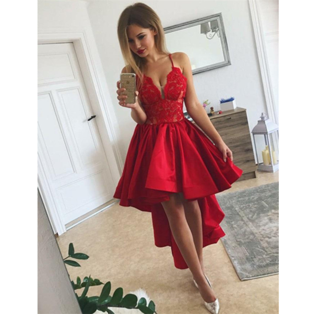 Red Spaghetti Straps Sexy V-neck Lace Top Homecoming Dresses With Pleats, HD0475