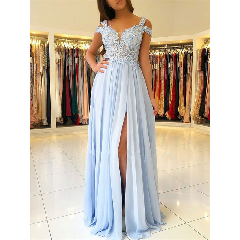 Off-Shoulder High Split Lace Appliques Top Long Prom dresses, BD0530