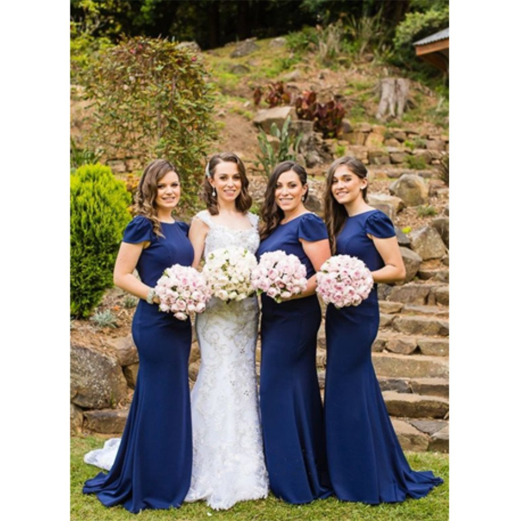 New arrival Floor-length Mermaid Navy blue Cap sleeves Long Bridesmaid Dress, BD0480