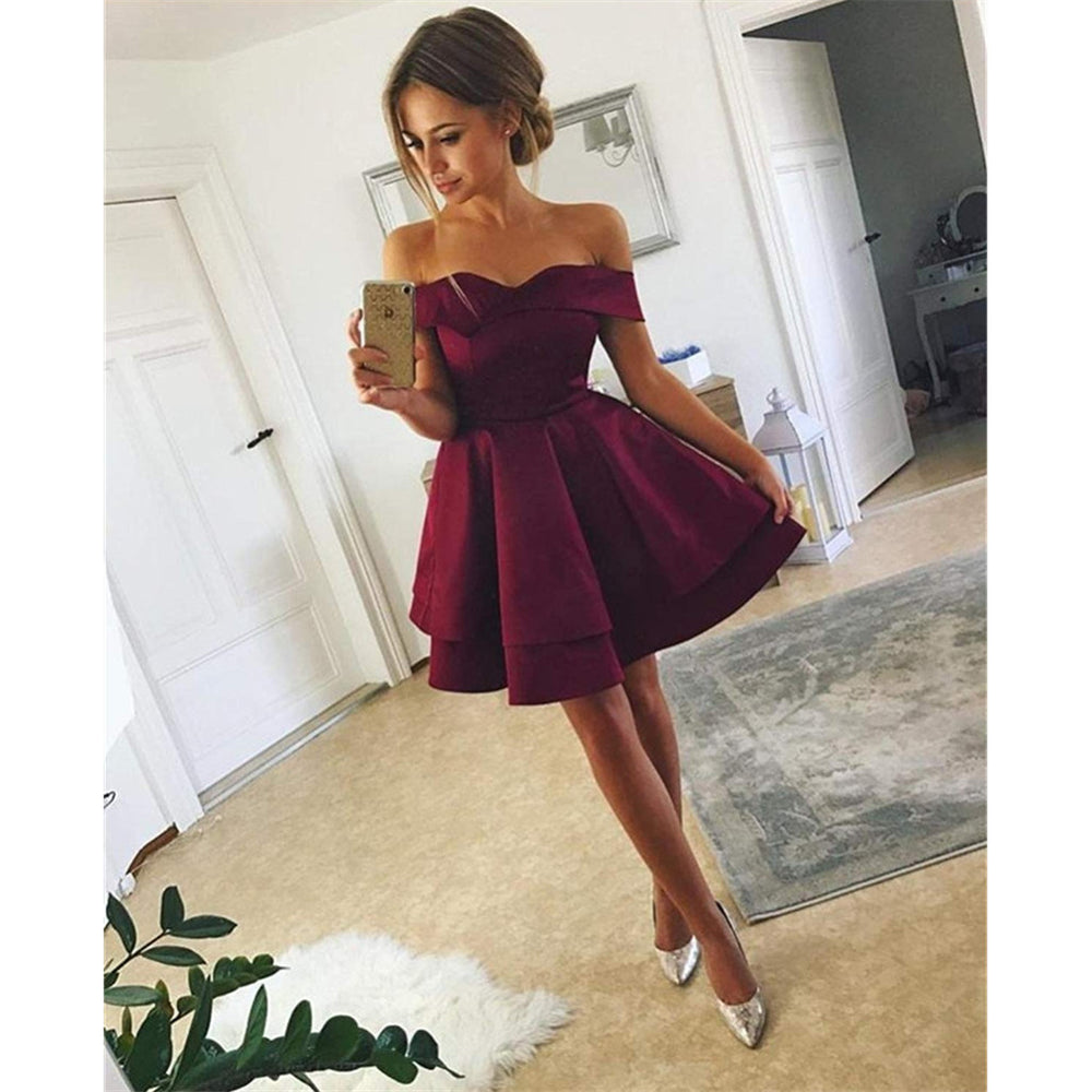 bd15bfc8376d New Arrival Simple Off-shoulder Cheap Short Satin Homecoming Dresses, HD0421