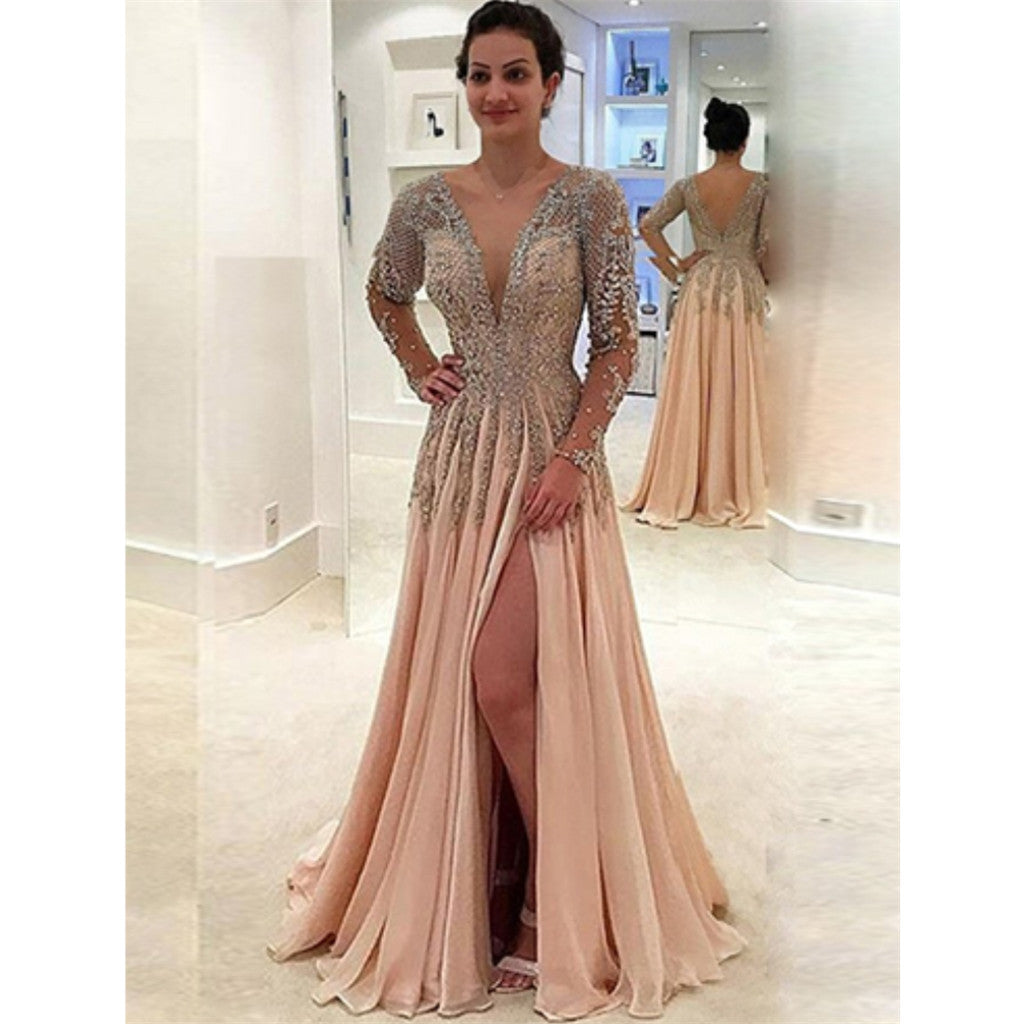 A-Line Deep V-Neck Long Sleeves Backless Chiffon Beading Long Prom Dress, PD0139