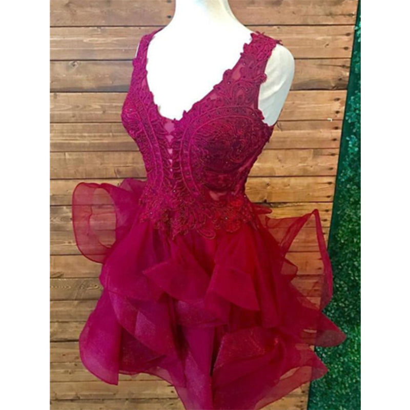 Unique Sexy V-neck Sleeveless Lace Appliques Short Red Organza Homecoming dresses, HD0380