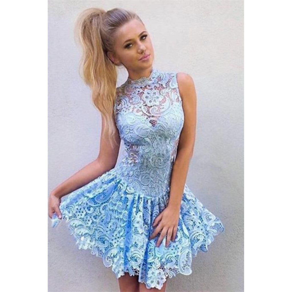 Hot Selling Sexy Full Lace Sleeveless Zipper Back Blue Short Homecoming dresses, HD0368