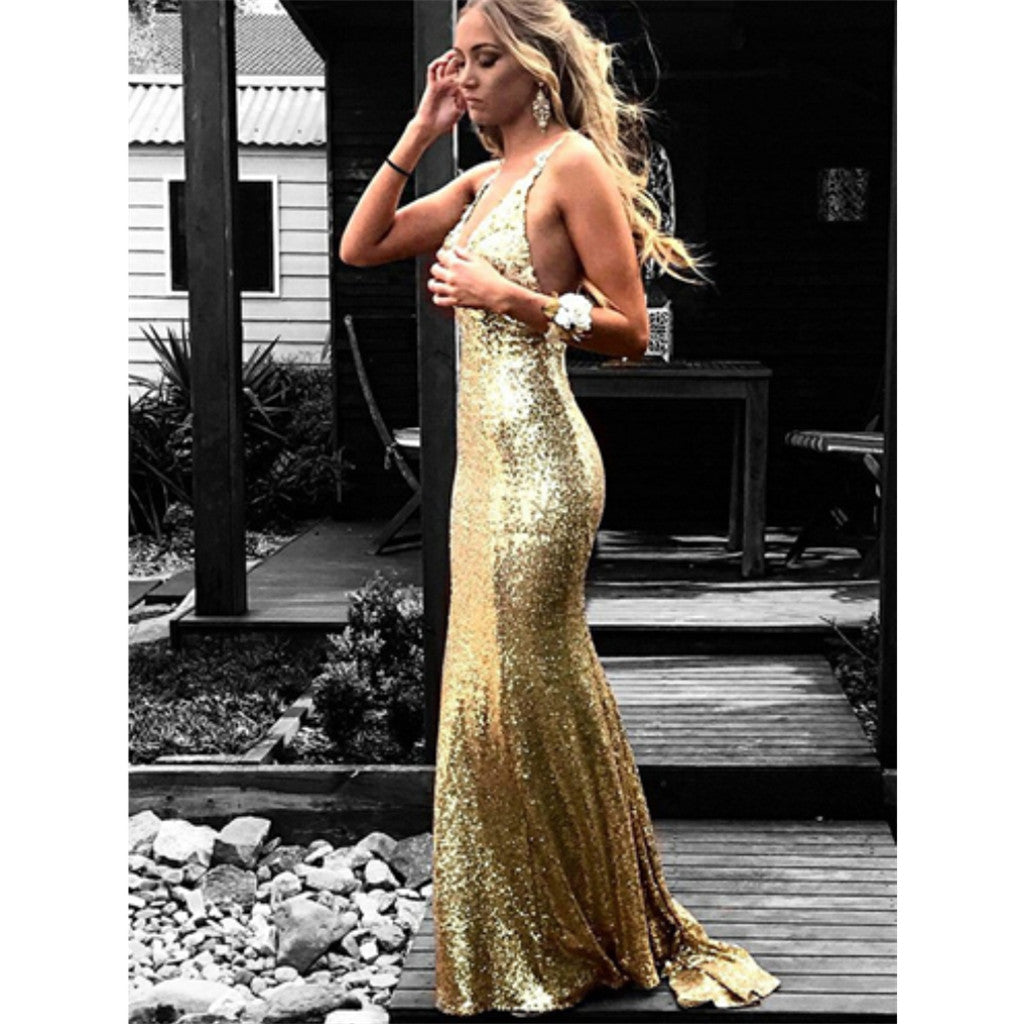 Mermaid V-Neck Backless Gold Sequins Long Prom Dresses With Train, PD0128
