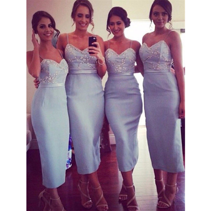 Newest Spaghetti Straps V-neck Appliques Short Bridesmaid dresses, BD0520