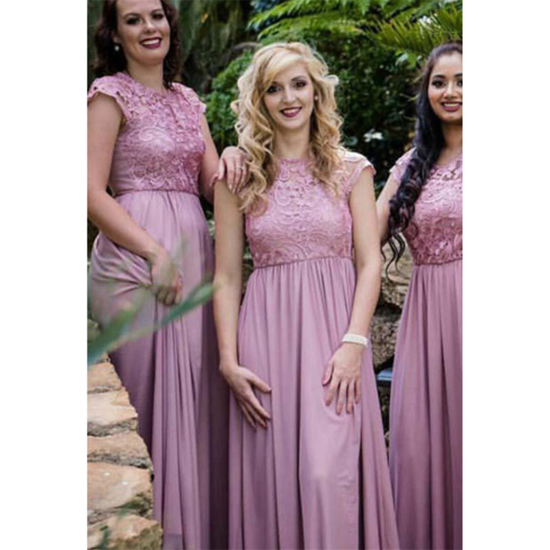A-line Round Neck Cap Sleeves Chiffon Lace Top Long Bridesmaid Dresses, BD0504