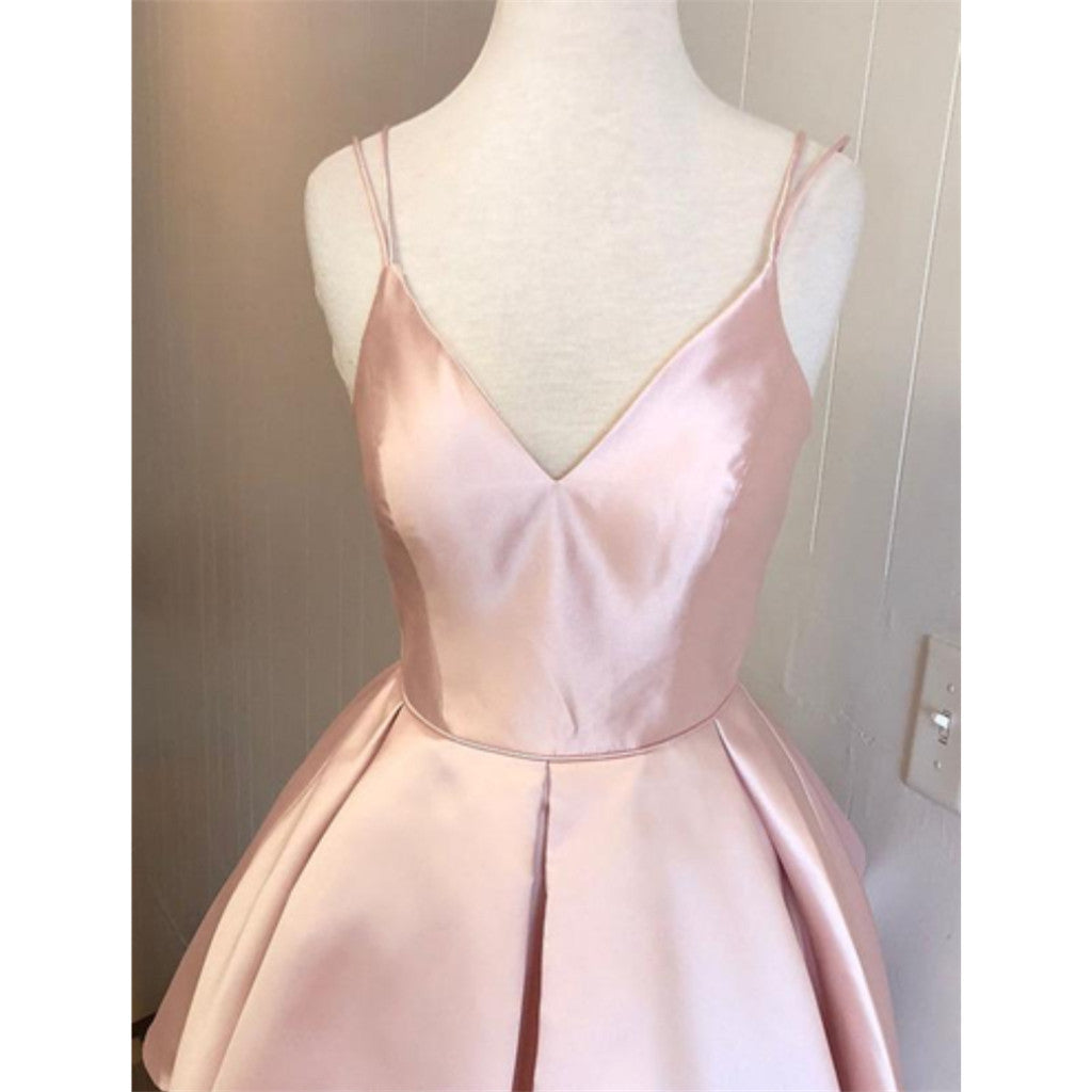 930c4a81e2e Hot Selling Spaghetti Straps V-neck Pink Simple Homecoming Dresses