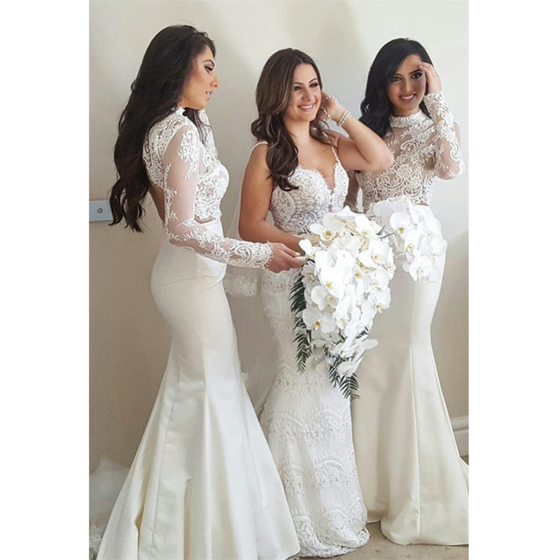 Mermaid High Neck Long Sleeves Lace Top Sweep Train Ivory Long Bridesmaid Dress BD0507