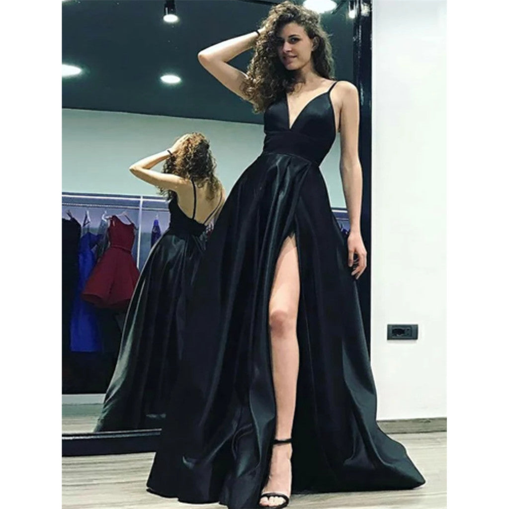 A-Line Spaghetti Straps Deep V-neck Backless High Slit Simple Long Prom Dresses, PD0118