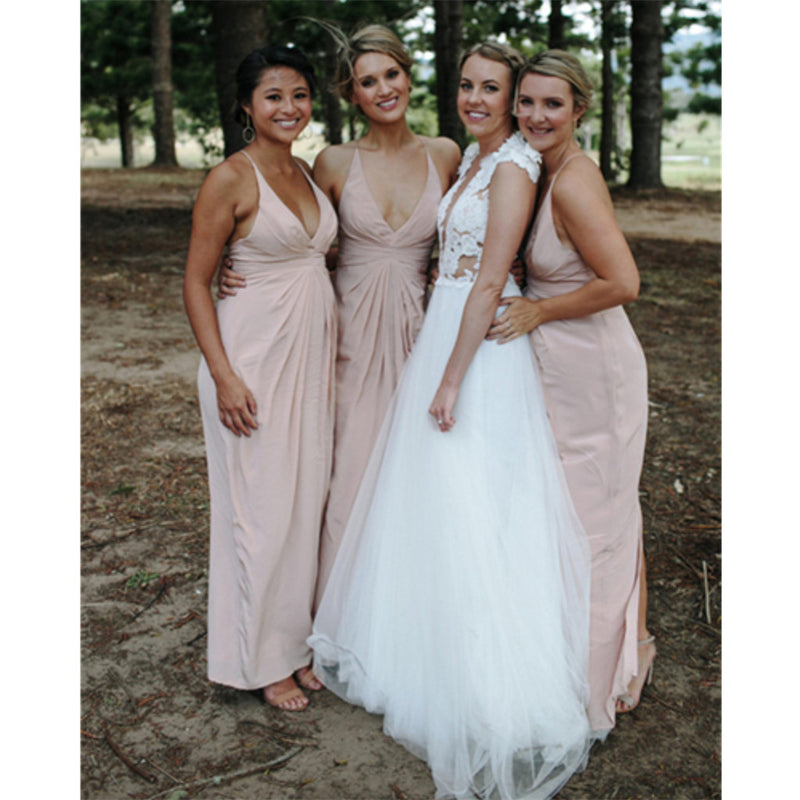 Sheath V-Neck Floor-Length Bridesmaid Dresses With Pleats, BD0570