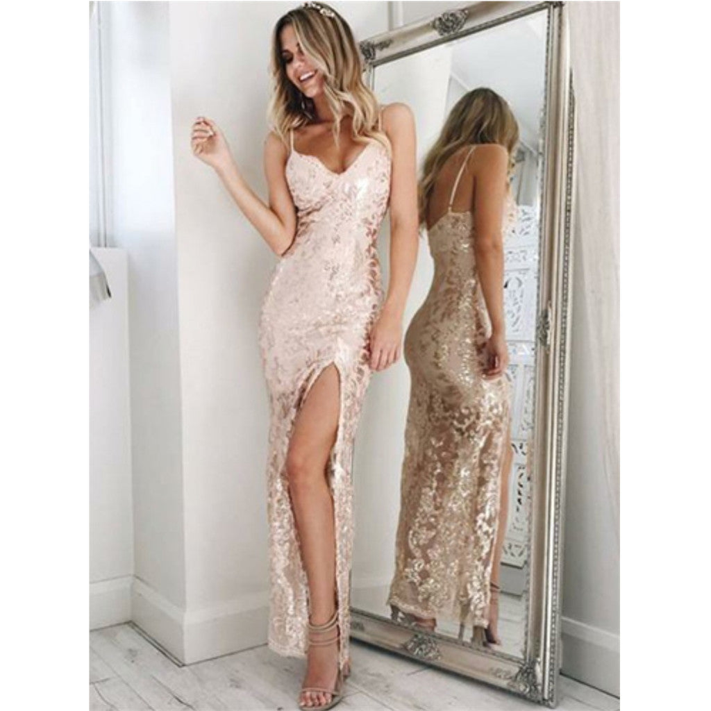 Charming Spaghetti Straps high split sexy prom dresses, Popular cheap prom dresses, PD0108