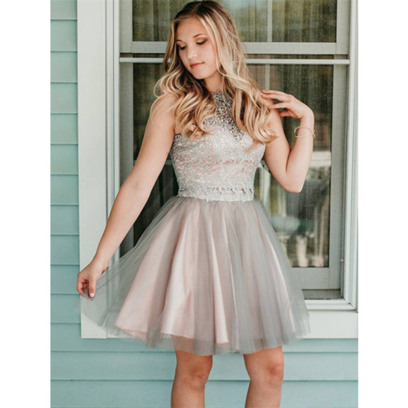 Newest Round Neck Lace Appliques Top Tulle skirt Short Homecoming Dress, HD0414