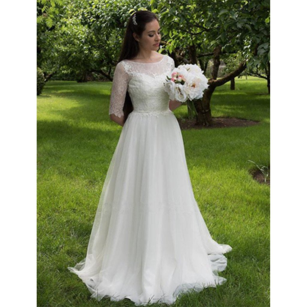 Elegant A-line Half Sleeves Lace Top Tulle Cheap Long Wedding Dress, WD0377