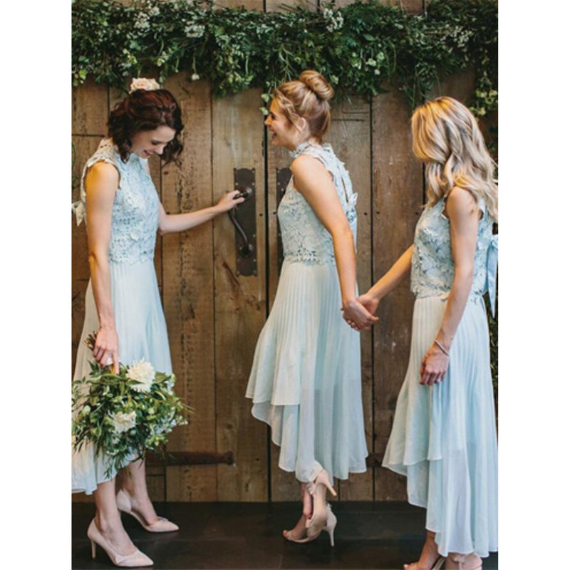 Newest Lace High Neck Chiffon Short Bridesmaid dresses With Pleats, BD0527