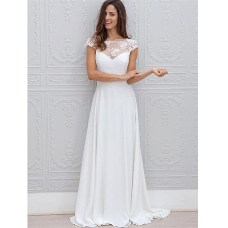 A-line Floor-length sleeveless Beautiful Illusion Neckline Lace Beach Wedding Dress, WD0403