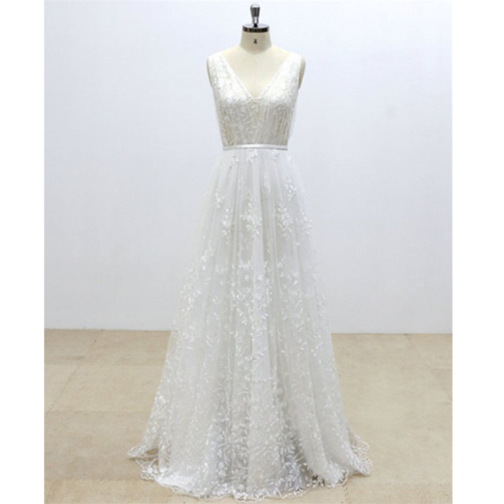 Romantic Elegant New Designed A Line V back Floor Length Tulle Wedding Dresses, WD0349