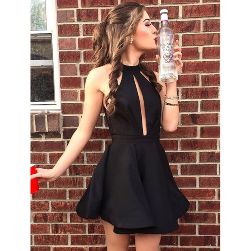 Halter A-Line Sleeveless Short Black Simple Homecoming Dresses, HD0440