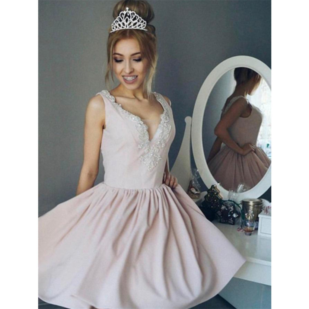 A-line V-neck Beading Pink Short Princess Homecoming Dresses With Pleats, HD0453
