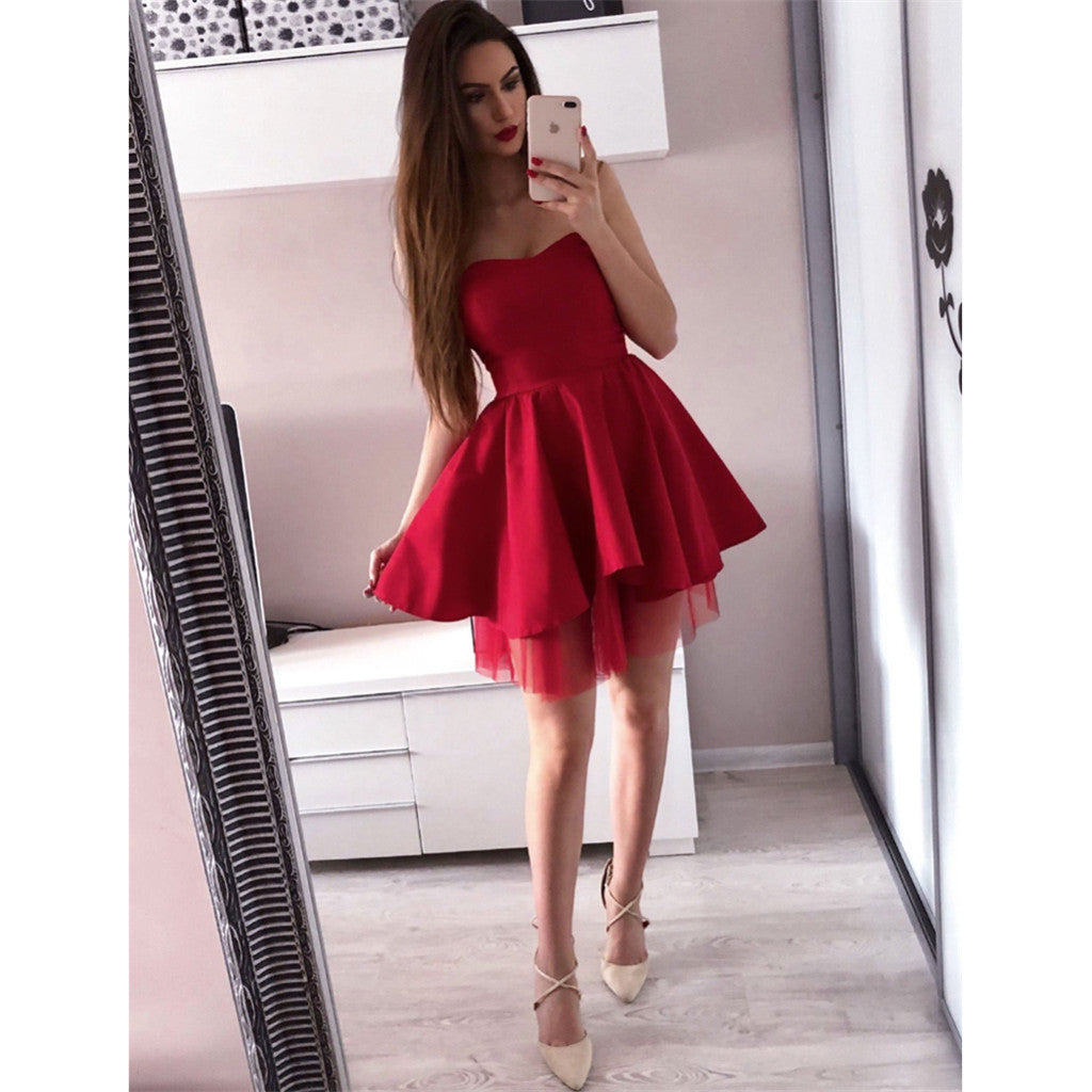 Sweetheart Red Simple Sleeveless Cheap Tulle Sexy Short Homecoming Dresses, HD0467