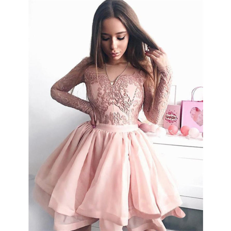 Popular V-neck Pink Lace appliques Long Sleeves Short Homecoming Dresses, HD0446