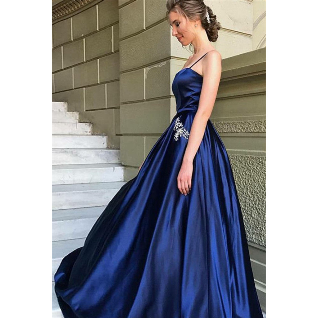 A-Line Spaghetti Straps Navy Blue Long Prom Dresses With Beading Pockets, PD0127