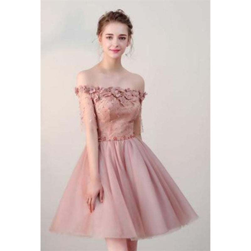 Charming Off the Shoulder Pink Applique Beaded Lace up Back Homecoming Dresses, HD0363