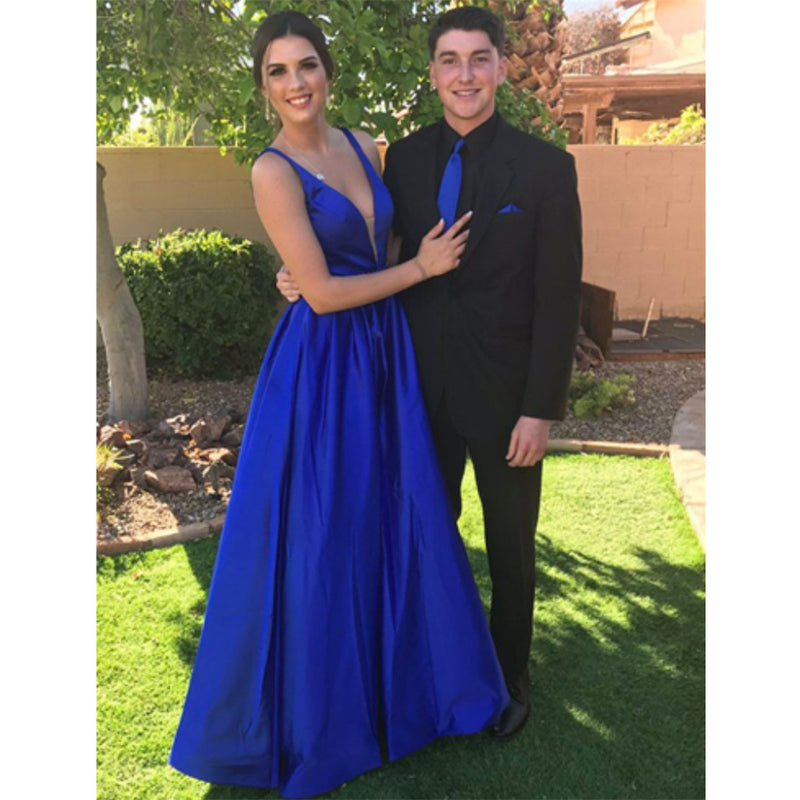New Arrival A-Line Simple V-Neck Floor-Length Royal Blue Satin Cheap Prom Dress, PD0114