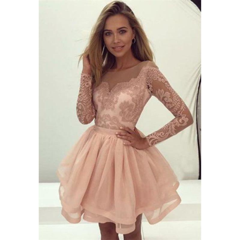 Long Sleeves Lace Zipper Back Tulle Short Cheap Homecoming Dresses, HD0362