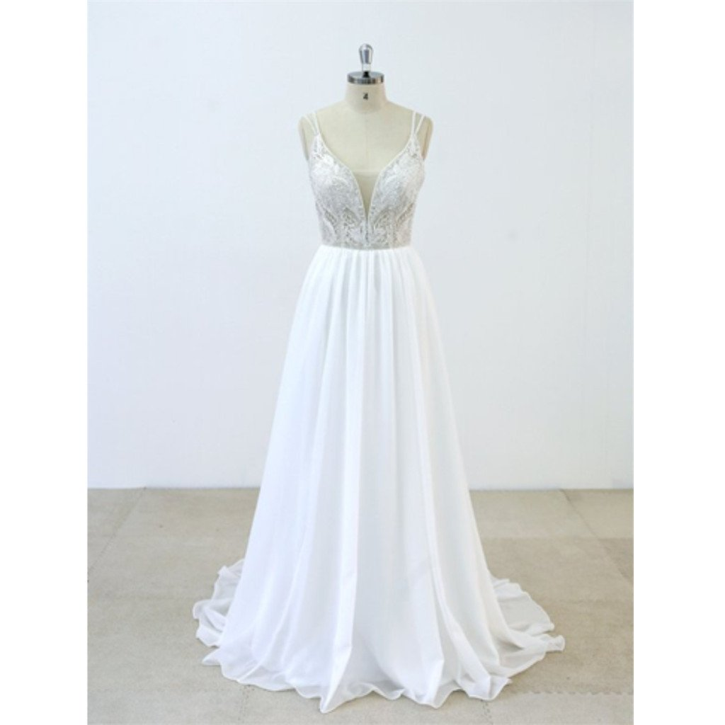 Deep V-neck Spaghetti Straps applique Backless chiffon Wedding Dresses with train, WD0366