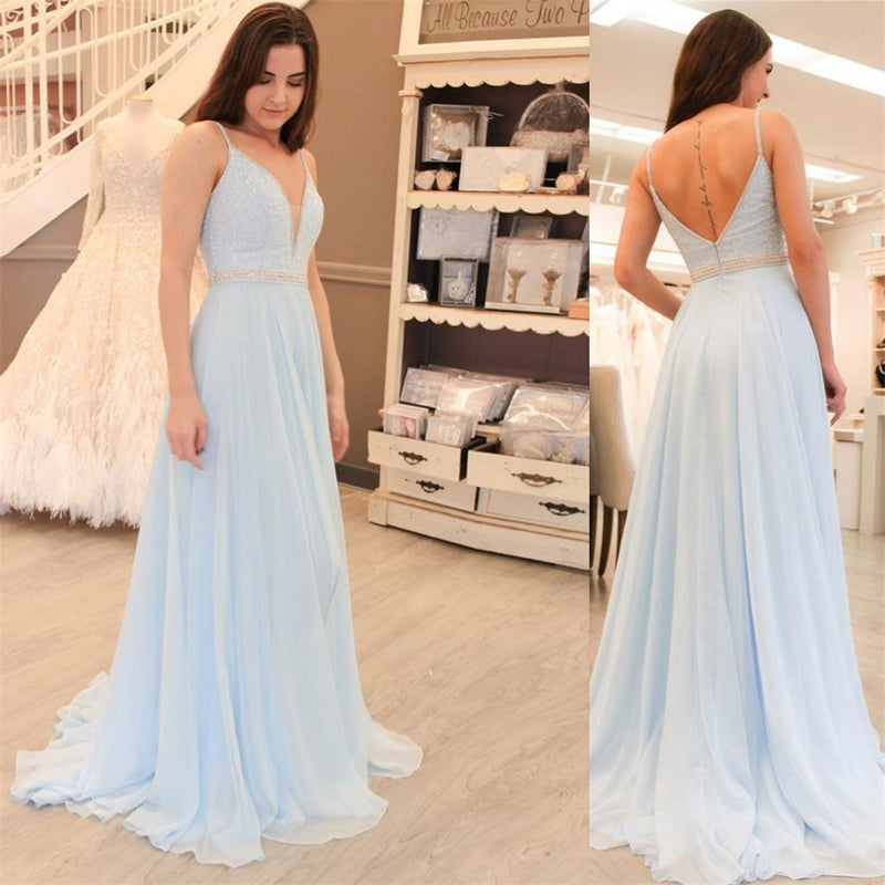Popular Long A-line chiffon prom dresses, Spaghetti Strap Deep V-neck sexy prom dresses,  PD0104