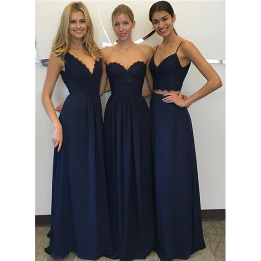New Arrival A Line Floor-Length Cheap Lace top chiffon Bridesmaid dress,  BD0100