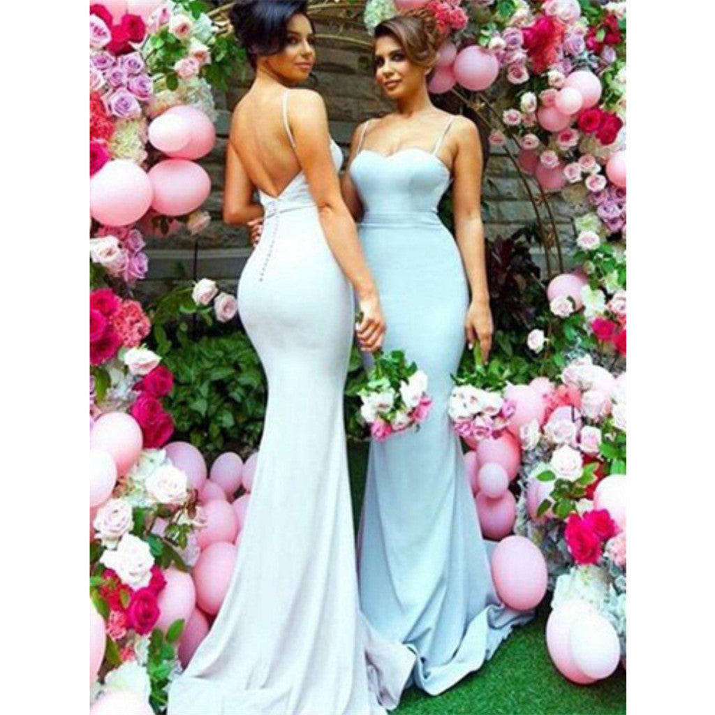 Mermaid Sexy Spaghetti Straps Backless Simple Popular Bridesmaid Dresses, BD0518