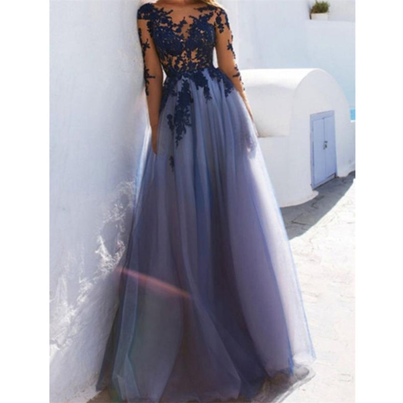 New Arrival Floor-length A-Line Appliques Backless Evening Dress, Long Prom Dress, PD0503