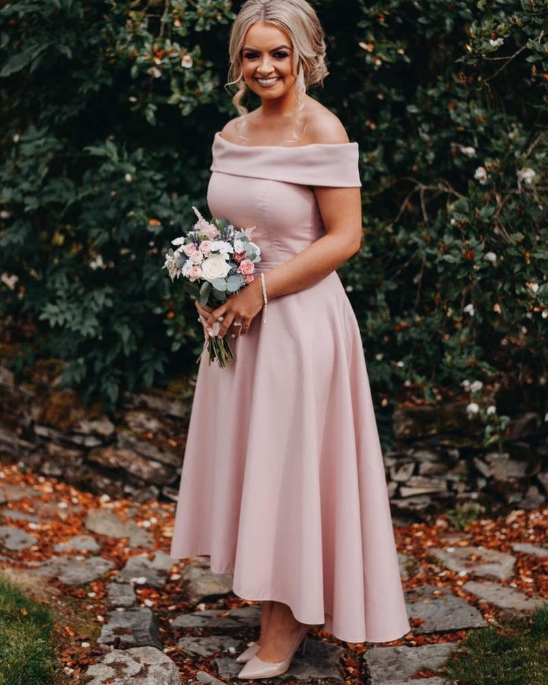 Elegant Off-shoulder Simple Sleeveless Ankle-length Bridesmaid Dresses, BD0597